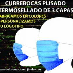 CUBREBOCAS 3 CAPAS TERMOSELLADO DE COLORES MANIQUI BLANCO chica
